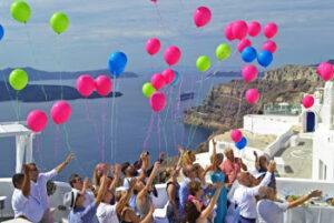 santorini wedding balloons